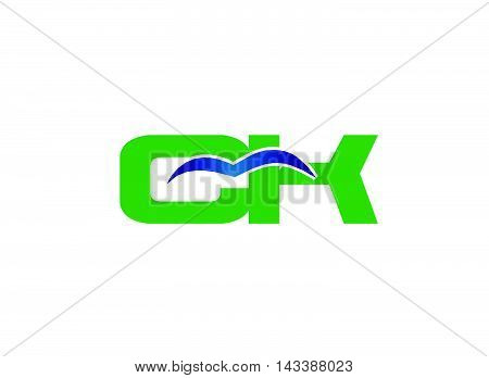 Elegant alphabet K and C letter logo. Vector illustration