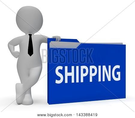 Shipping Folder Indicates Delivering Freight 3D Rendering