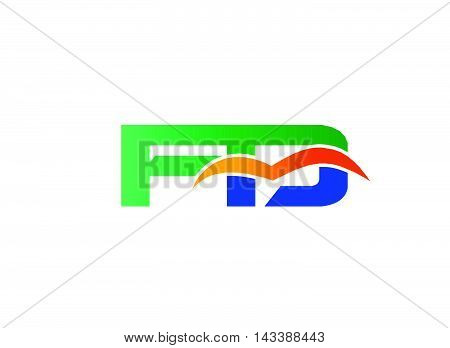 Letter F and D logo. FD company linked letter logo