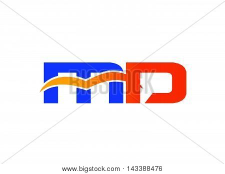 Letter M and D logo. MD company linked letter logo