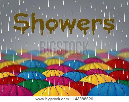 Rain Showers Means Wet Downpour And Rainfall