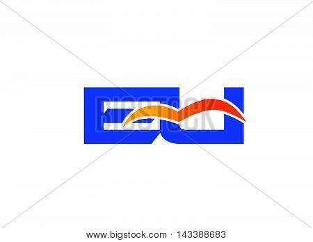 Eu Logo. EU company linked letter logo