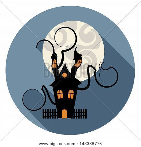 Haunted House Icon Indicates Trick Or Treat Spooky Home