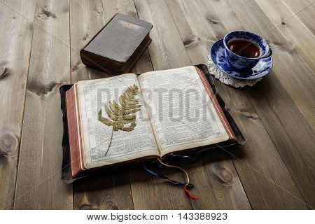 Religious scene of morning devotional with open leather bound Bible with pressed fern leaf closed Bible and blue and white china cup and saucer with tea on wooden table. Bibles are non trademark version.