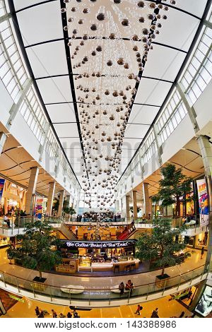 BANGKOK, THAILAND- APRIL 30, 2015: Festive interior ZEN shopping mall in Central World Plaza. It is a shopping plaza which is the sixth largest shopping complex in the world, owned by Central Pattana