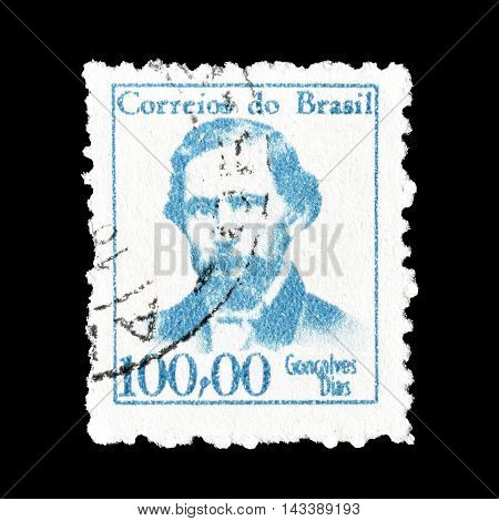 BRASIL - CIRCA 1965 : Cancelled postage stamp printed by Brasil, that shows Antonio Goncalves Dias.
