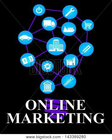 Online Marketing Icons Show Market Promotions Online
