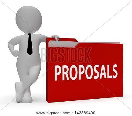 Proposals Folder Holding Plans And Contracts 3D Rendering