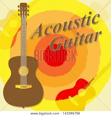 Acoustic Guitar Shows Rock Guitarist And Music