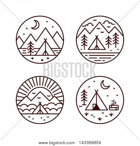 Camping illustrations set. Tourist tent in different landscapes. Vector geometric line icons.