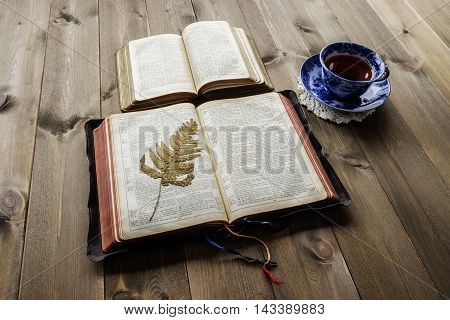 Peaceful Christian study scene of two open bibles showing old and new testaments on wooden table with blue and white china cup and saucer of tea on lace coaster and old pressed fern leaf on page. Bibles are non trademark version.
