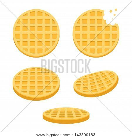 Belgian round waffles illustration set. Flat vector style cartoon icons different angles.