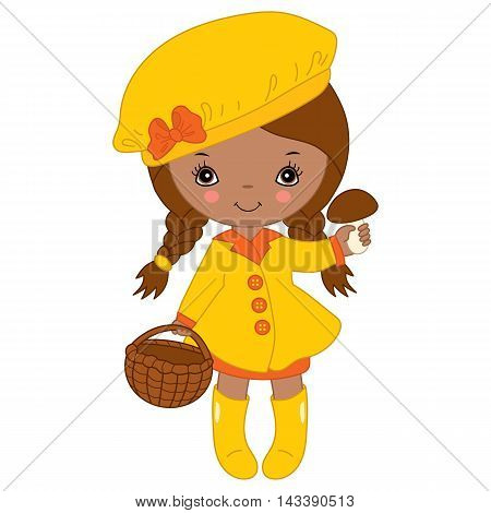 Vector African American little autumn girl in yellow coat with mushroom