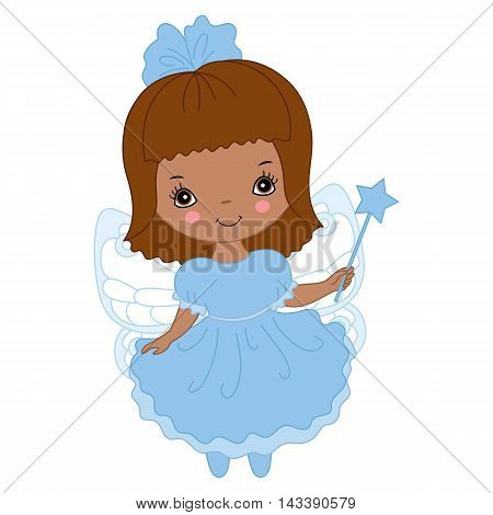 Vector African American cute little fairy with magic wand in blue dress