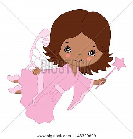 Vector African American cute little fairy with magic wand in pink dress