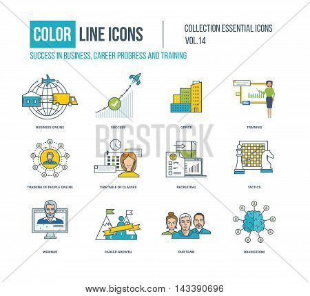Color Line icons collection. Business online, career progress, training, recruiting, webinar, career growth, our team, brainstorm timetable of classes