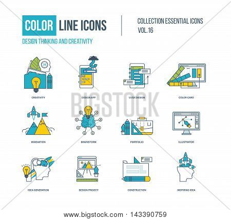 Color Line icons collection. Design thinking and creativity, desk work, design app, application development, innovation and design project.