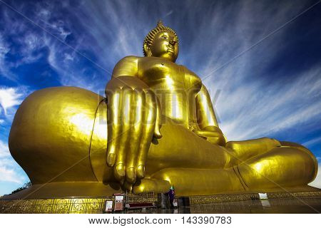 The Big Golden Buddha at Wat Muang Ang Thong Thailand
