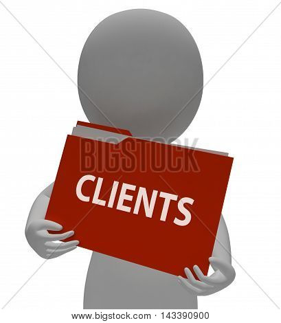 Clients File Represents Shopper Buyers 3D Rendering
