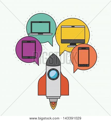 Network electronic devices communication vector illustration design