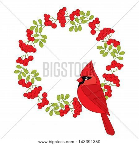 Vector Christmas cardinal with red ashberry wreath