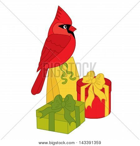 Vector Christmas cardinal with colorful gift boxes