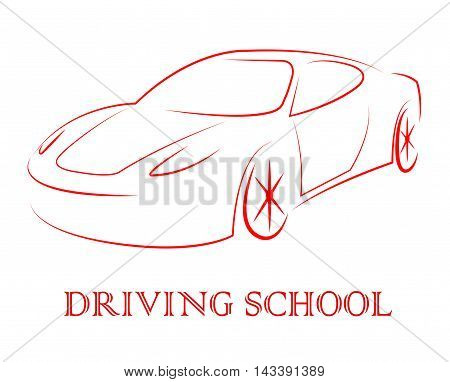 Driving School Indicates Learning To Drive A Car
