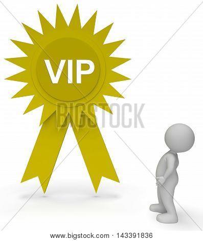 Vip Rosette Represents Very Important Person 3D Rendering