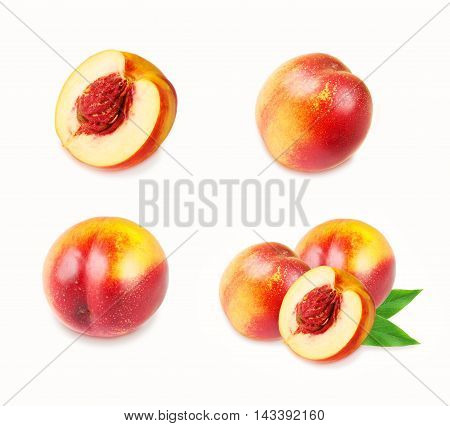 Set of peaches fruits isolated on white. Peaches (nectarines) collection.