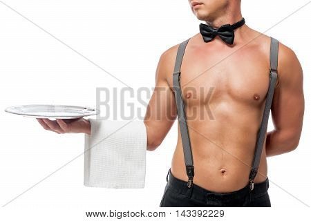 Strong Hand Of Sexual Stripper Holding A Tray