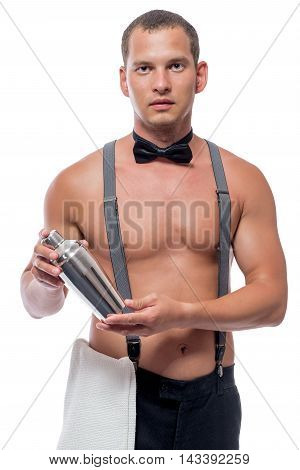 Handsome Young Barman With Shaker In Hand Isolated