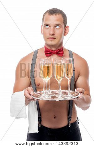 A Young Waiter With A Naked Torso With Champagne At A Party