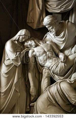 ROME ITALY - JUNE 11 2015: Saints Vincent and Anastasius at Trevi / Santi Vincenzo e Anastasio a Trevi / - Baroque church in Rome. Italy