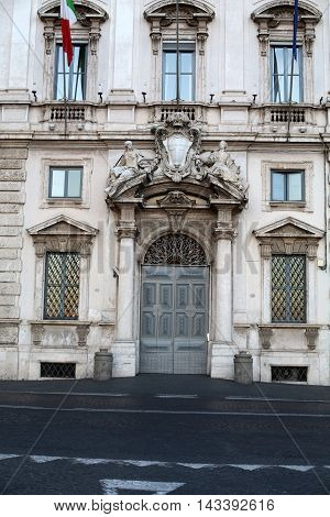 ROME ITALY - JUNE 11 2015: Constitutional Court of the Italian Republic (Palazzo della Consulta) on Piazza del Quirinale in Rome Italy