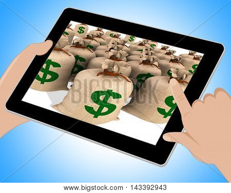 American Dollars Sacks Show Savings Online 3D Illustration