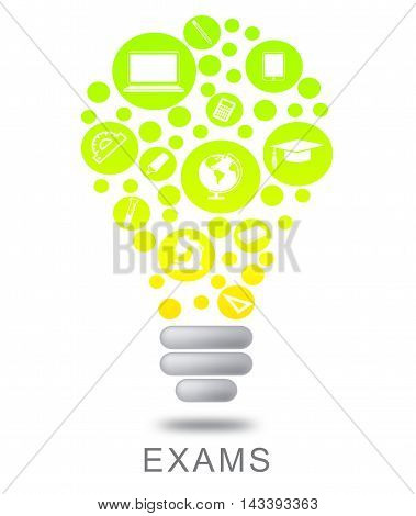 Exams Lightbulb Shows Testing Evaluation And Examinations