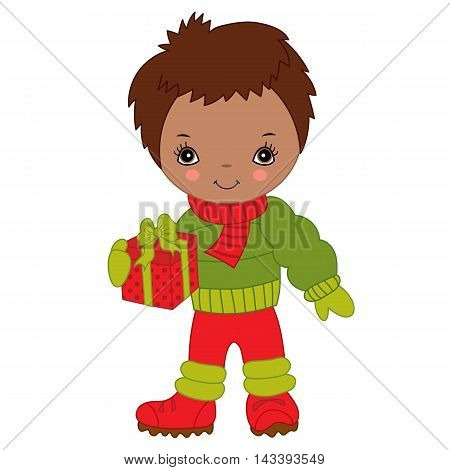 Vector African American Christmas little cute boy with gift box
