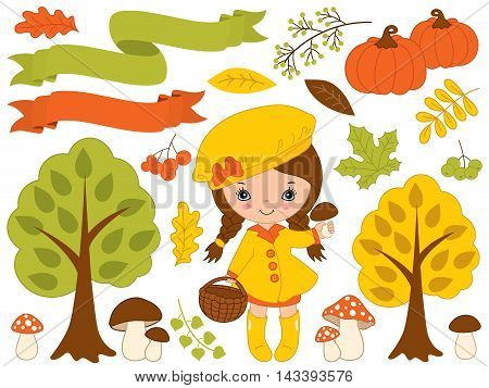 Vector autumn set with little girl pumpkins, ribbons, mushrooms, berries, and trees