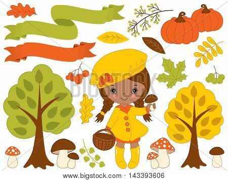 Vector autumn set with little African American girl pumpkins ribbons mushrooms berries and trees