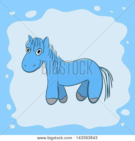 New year card with cute cartoon horse vector illustration