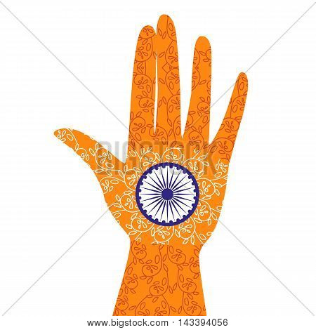 India republic independence. National holiday celebration concept. Colors of Indian flag with blue Ashoka Chakra. Unique symbol. Hand with henna tattoo. Patriotic event background. Vector illustration