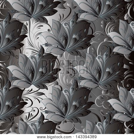 Grey monochrome stylish floral vector seamless pattern background with vintage beautiful volumetric flowers and ornaments. Luxury illustration and royal 3d decor elements with shadow and highlights. Endless elegant  texture.