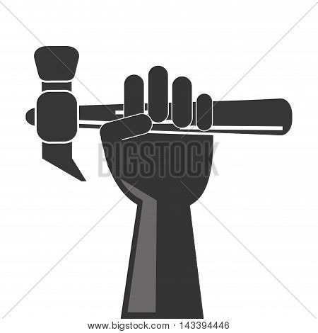 hammer hand tool construction repair icon. Flat and Isolated design. Vector illustration