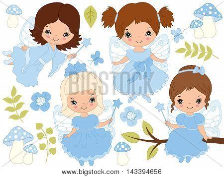 Vector cute little fairies with magic wand in blue dresses