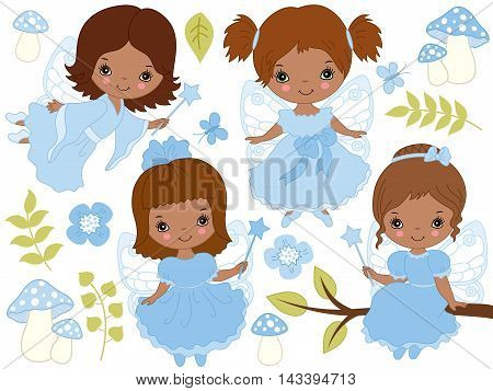 Vector African American little cute fairies with magic wand in blue dresses