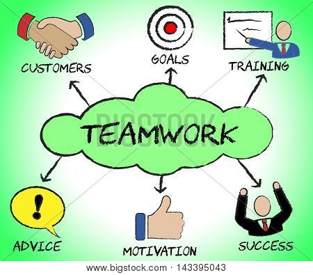 Teamwork Icons Means Teams Together And Organization