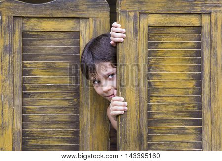 boy looks out of a wooden door