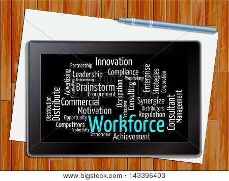 Workforce Word Shows Human Resources 3D Illustration