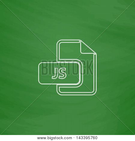 JS Outline vector icon. Imitation draw with white chalk on green chalkboard. Flat Pictogram and School board background. Illustration symbol