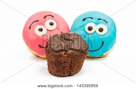 glazed donuts and muffins on white background